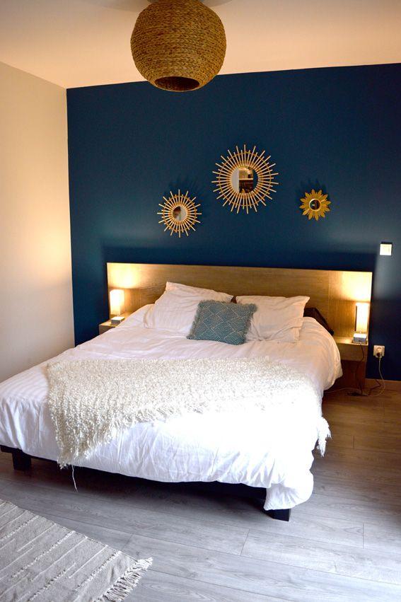 Idée relooking cuisine - chambre parent bleu tete de lit miroir ...