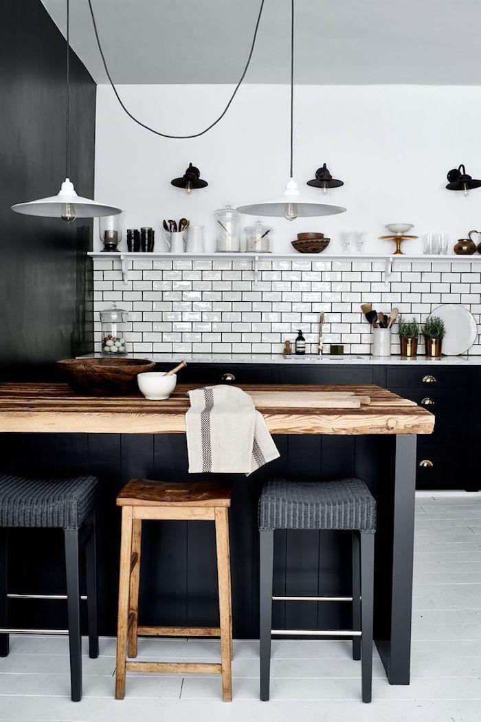 Modele Cuisine Blanche Et Grise Anthracite Avec Murs Blancs, Idée Pour  Aménageu2026