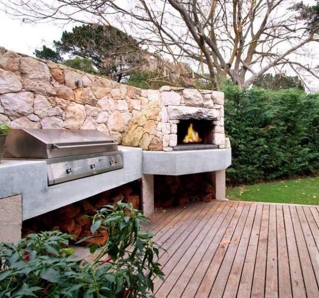 Idee Relooking Cuisine Terrasse De Jardin Avec Cheminee En Pierre