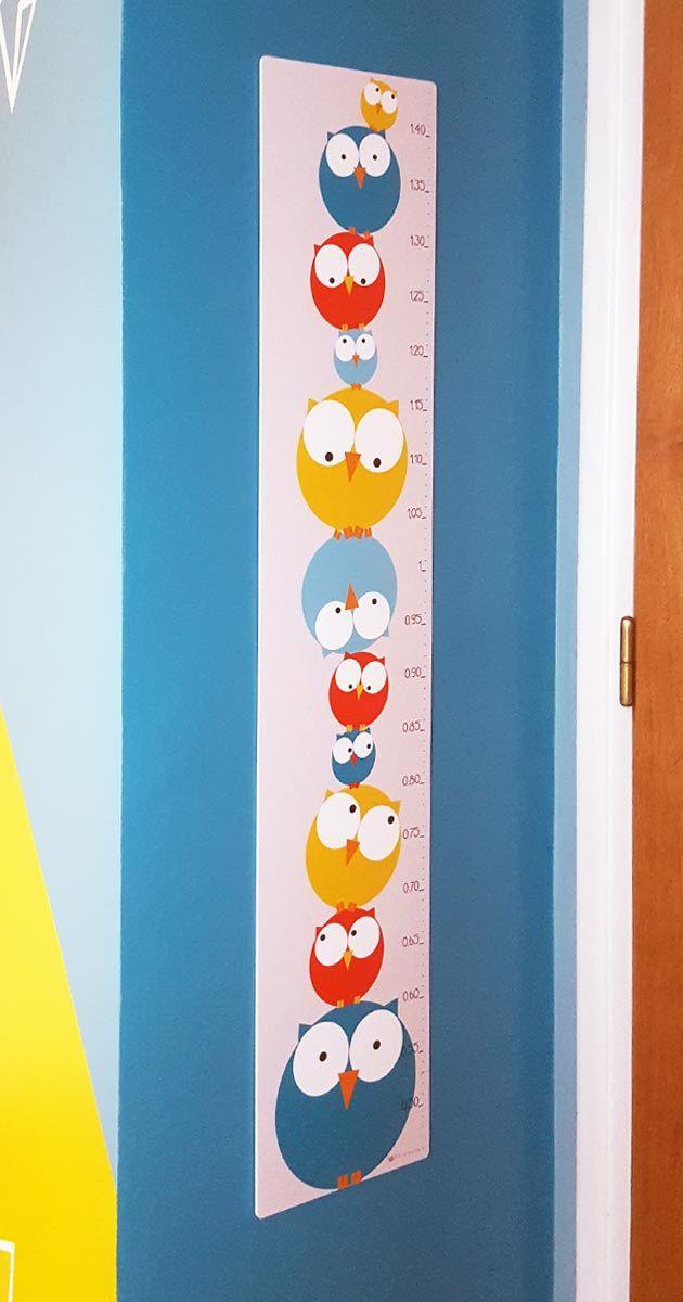 Déco Chambre Bébé Enfant   Toise Chouette Bleue Et Jaune | Pigment Des  Belett .