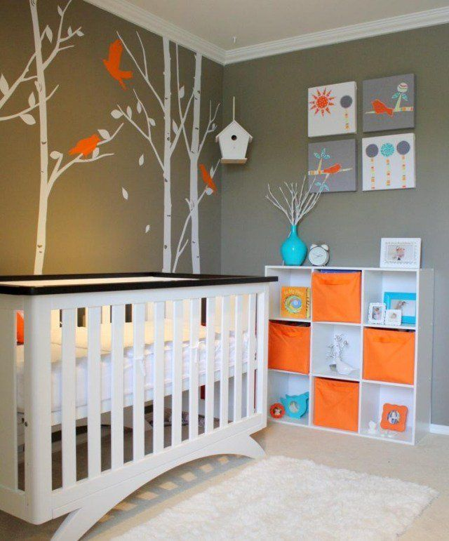Description. Chambre Bébé Neutre Aux Accents En Orange Et Turquoise