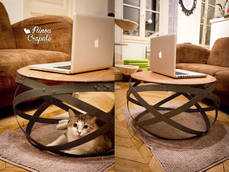 D co salon diy une table basse tr s originale r alis e partir de cerclages de tonnea - Fabriquer une table de salon ...