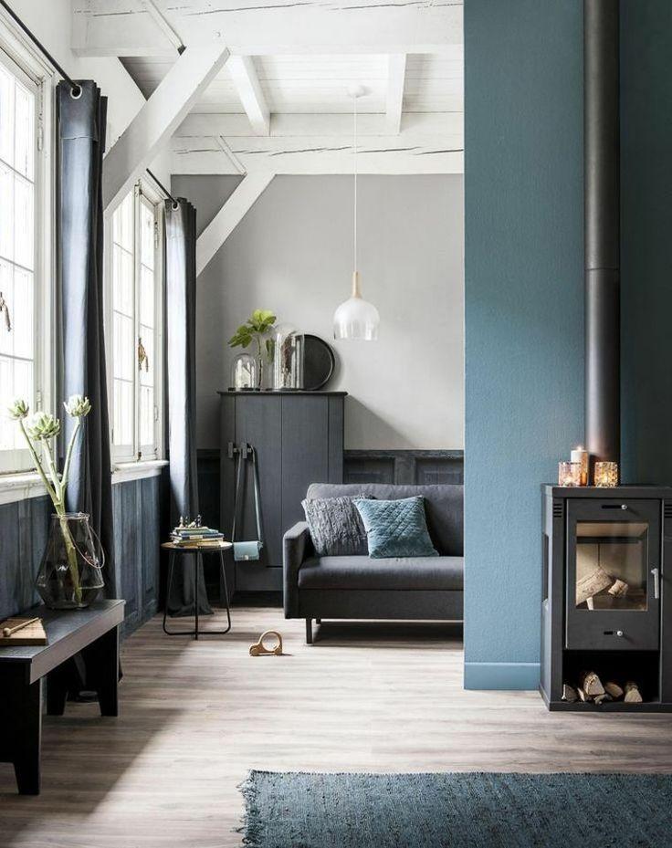 Déco Salon Gris Bleu Et Blanc Combinaison Moderne Et Toujours