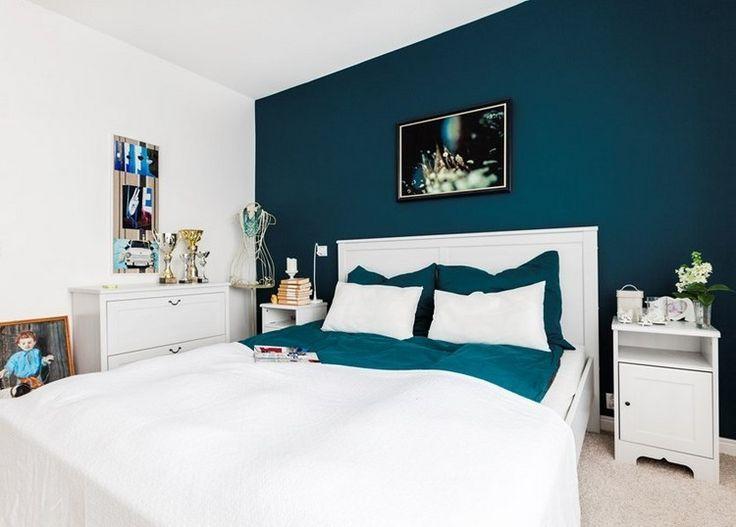 Déco Salon - couleur de peinture pour chambre bleu petrole, lit bas ...