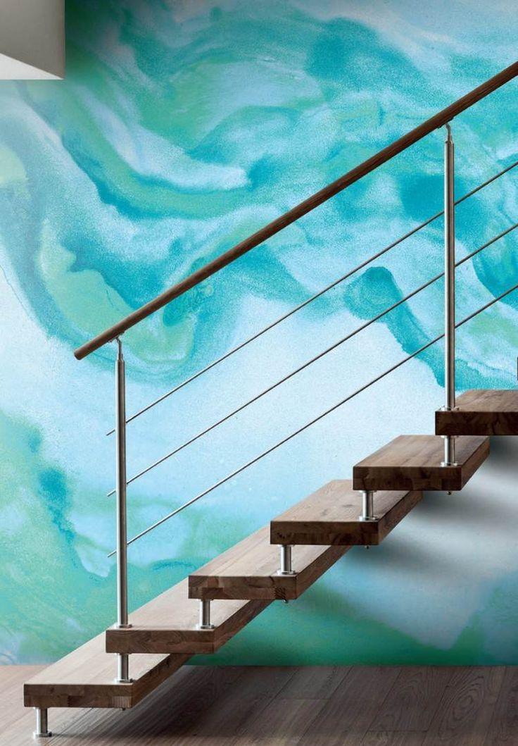 id e d coration maison en photos 2018 peinture l 39 eau pour un mur original escalier en bois. Black Bedroom Furniture Sets. Home Design Ideas