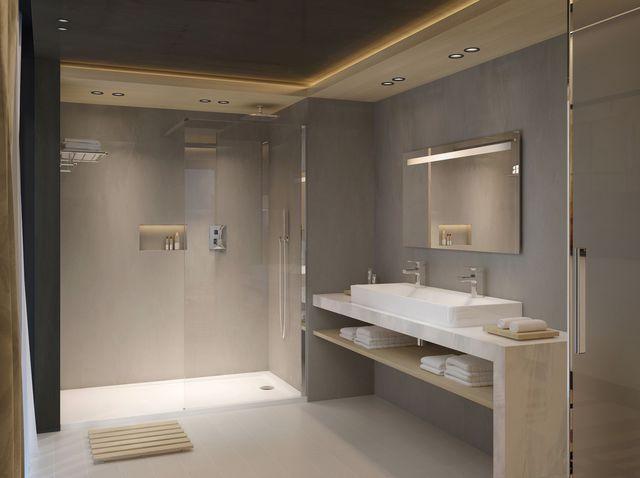 Idée décoration Salle de bain - Une salle de bains effet béton ciré ...