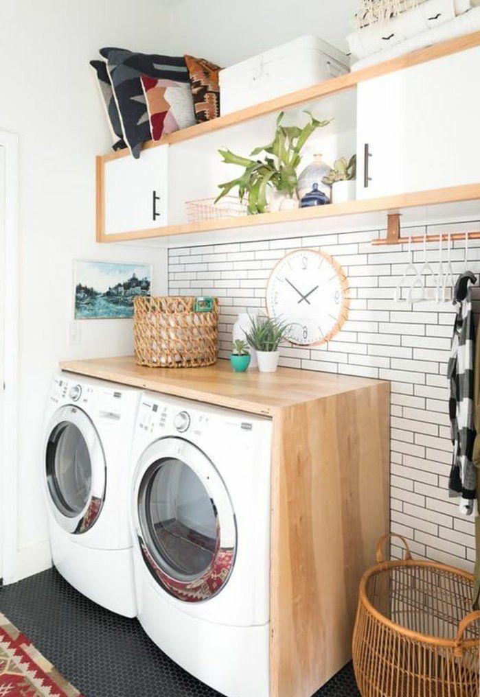 Id e d coration salle de bain amenagement lingerie petite buanderie en style scandinave lave - Lingerie salle de bain ...