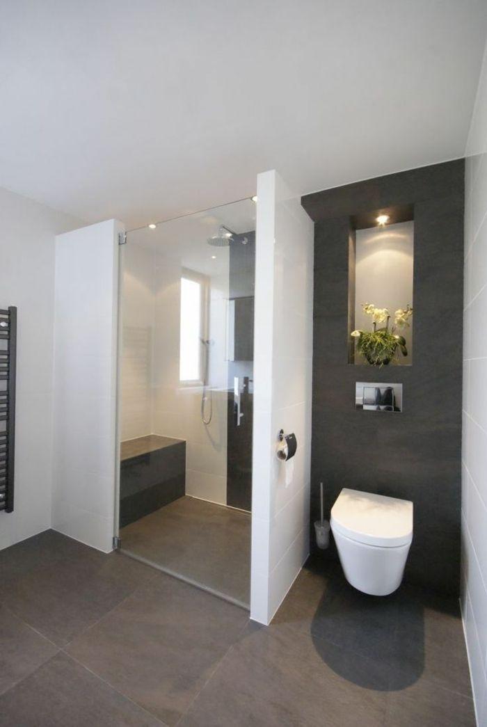 Idée décoration Salle de bain - jolie salle de bain blanc gris ...