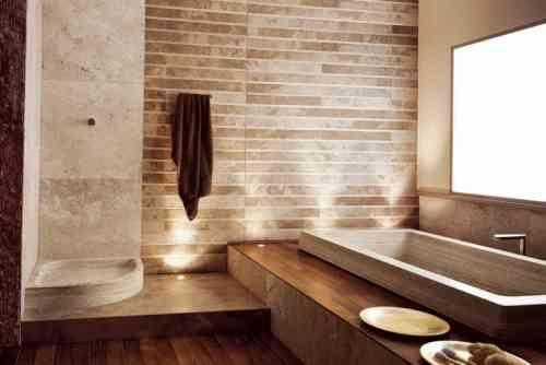 Idée décoration Salle de bain - le travertin : salle de bain en ...