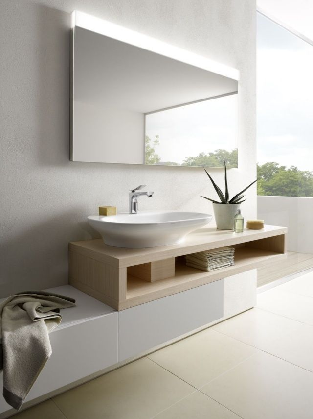 Id e d coration salle de bain luminaire salle de bain miroir avec clairage int gr - Meuble de salle de bain avec miroir integre ...