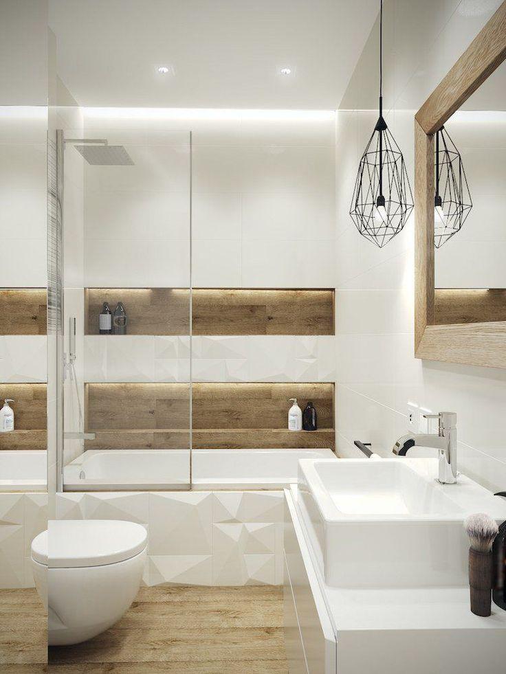 Idée décoration Salle de bain - petite salle de bain moderne bois ...