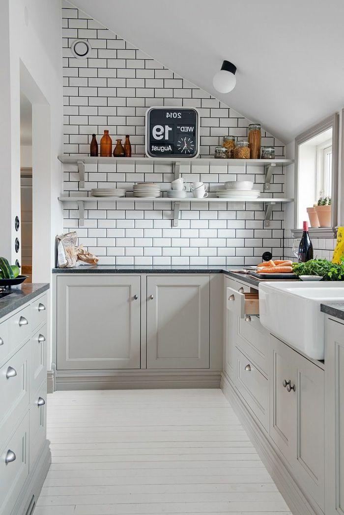 Idée relooking cuisine - couleur mur cuisine, mur de briques, modele ...