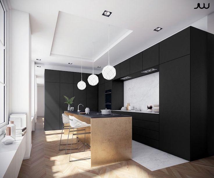 Idée relooking cuisine - cuisine blanc et noir avec une crédence en ...