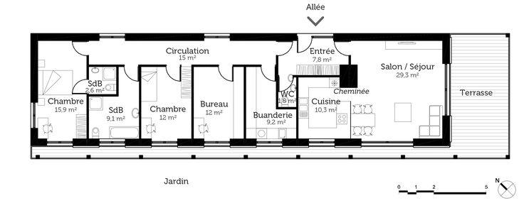 plans maison en photos 2018 plan au sol plan de maison en longueur. Black Bedroom Furniture Sets. Home Design Ideas