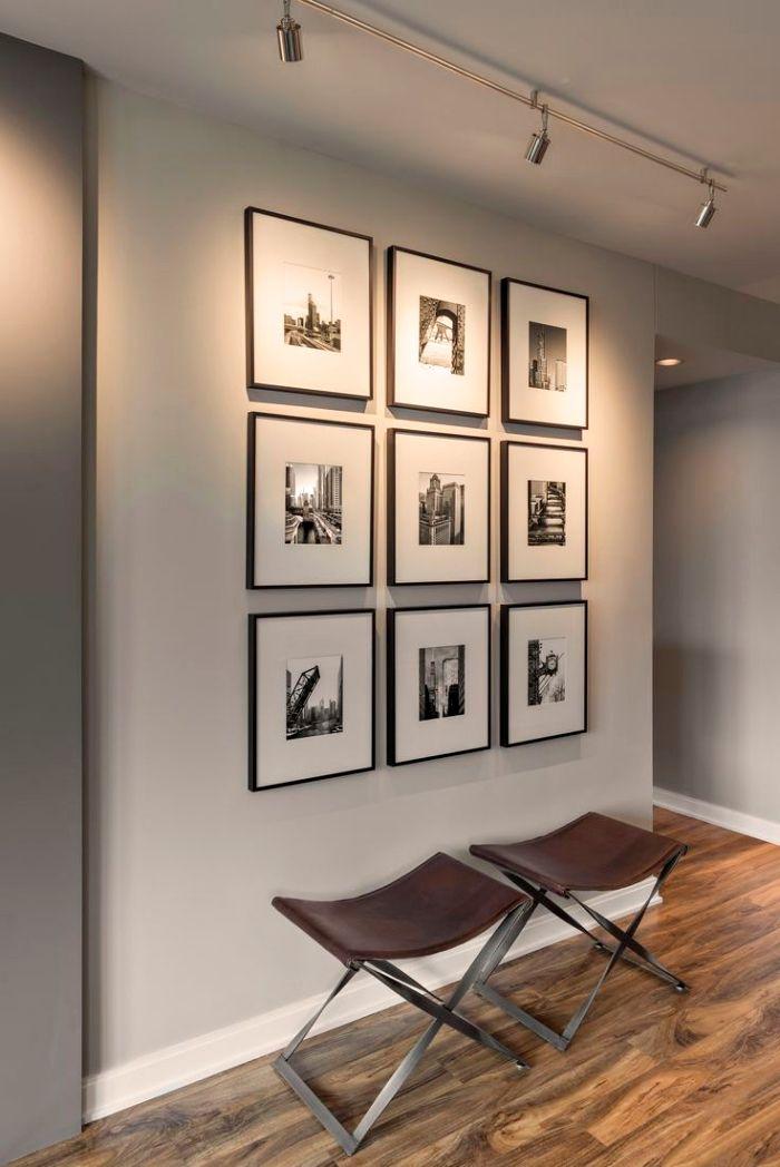 Plans maison en photos 2018 am nagement de l 39 int rieur moderne avec peinture murale blanc et for Interieur maison gris et blanc