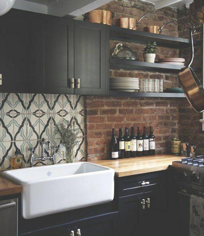 cuisine style retro chic meubles cuisine noirs plan de. Black Bedroom Furniture Sets. Home Design Ideas