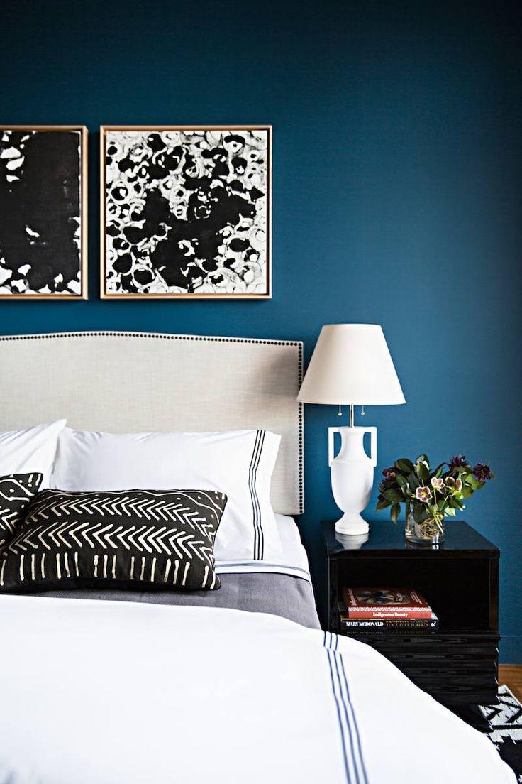 D co salon d coration en bleu canard blanc et noir dans la chambre adulte super chic - Chambre en noir et blanc ...