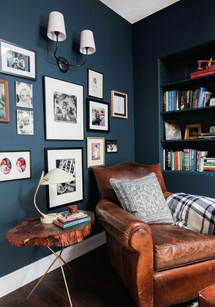 Déco Salon - deco salon bleu canard angle de repos et de lecture ...