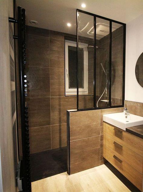 Idée décoration Salle de bain - Salle de bain tendance avec verrière ...