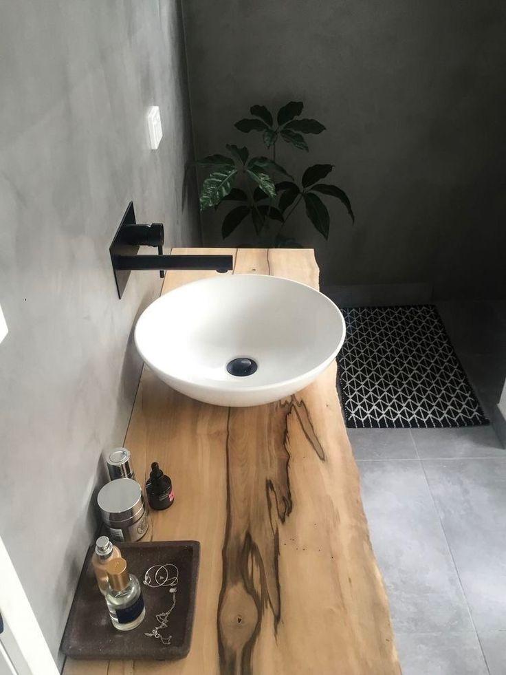 Idée décoration Salle de bain - un plan de travail en bois ...