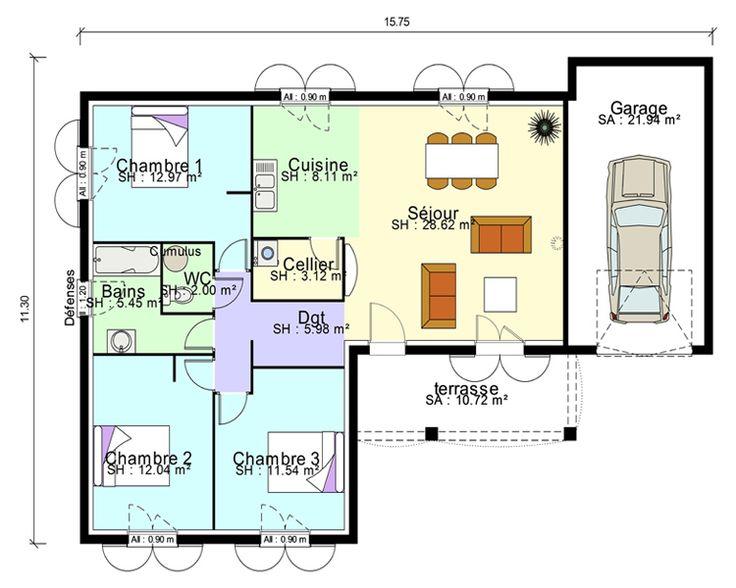 plan de maison 04 chambres