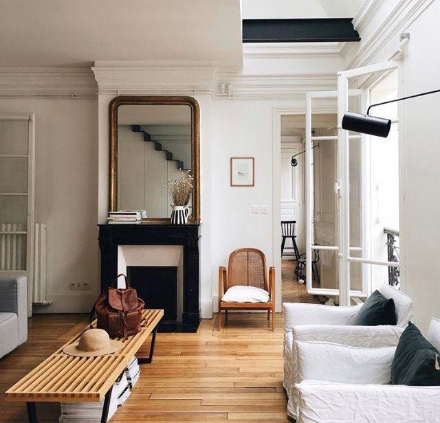 D co salon blanc noir bois et petites touches de couleur la combinaison parfaite - Salon noir et bois ...