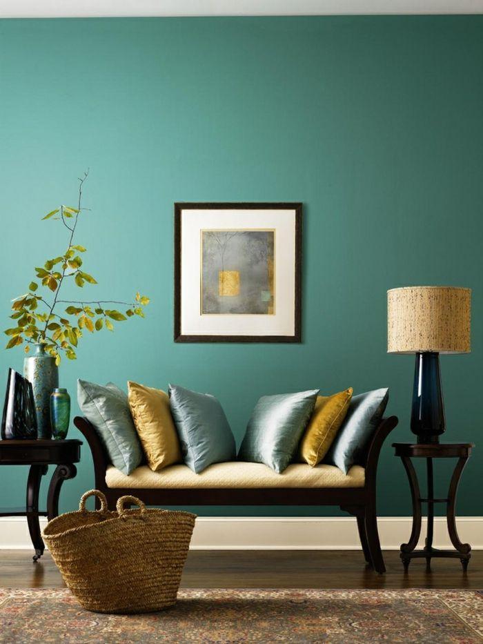Deco Salon Deco Bleu Et Jaune Mur Couleur Vert D Eau