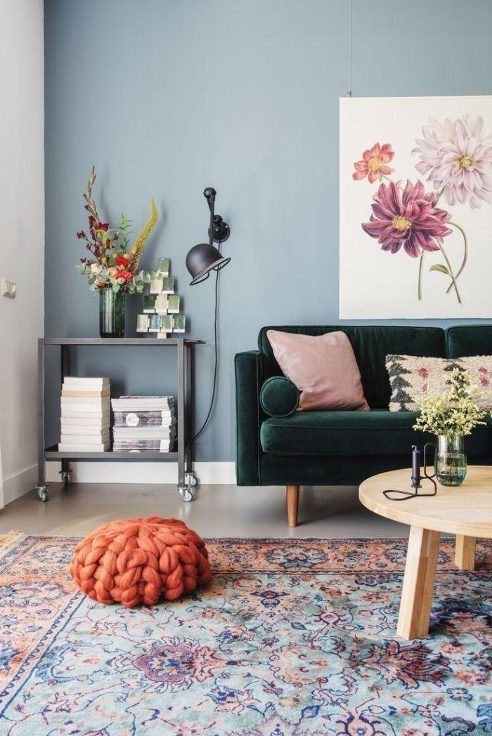 Déco Salon - deco salon bleu d\'esprit bohème chic et vintage, mur ...
