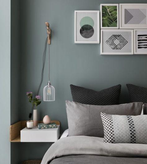 Deco Salon Idee Quelle Couleur Avec Le Gris Mur Vert De Gris Et