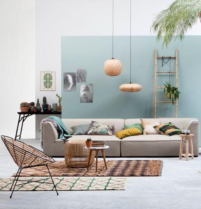 mur bleu canape gris. Black Bedroom Furniture Sets. Home Design Ideas