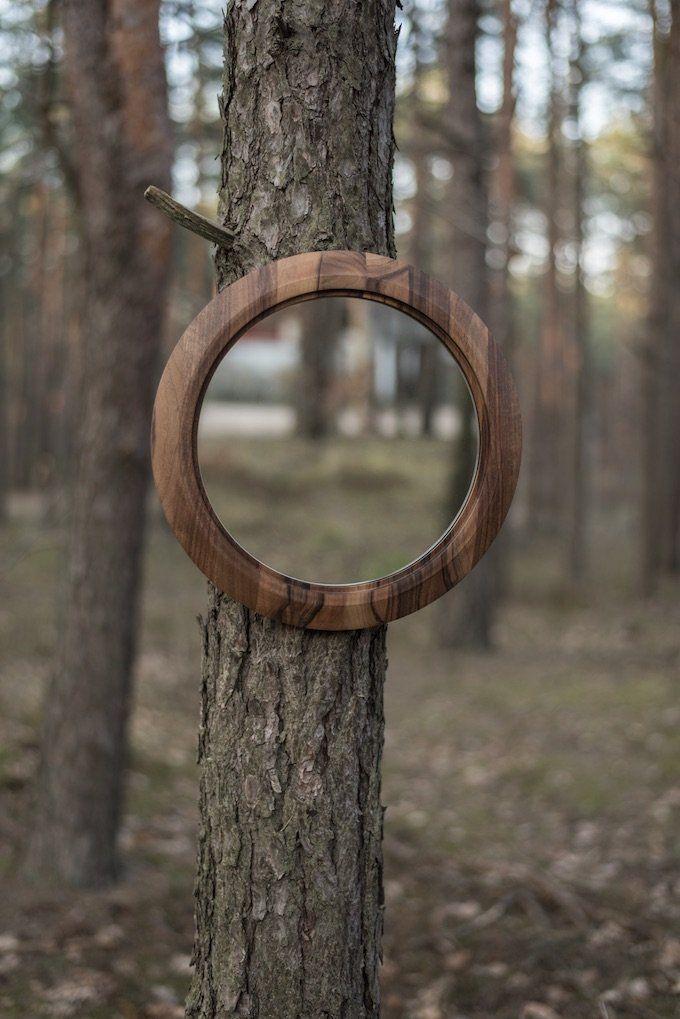 D coration nature miroir rond contemporain en bois for t trompe l 39 oeil histoire design - Miroir trompe l oeil ...