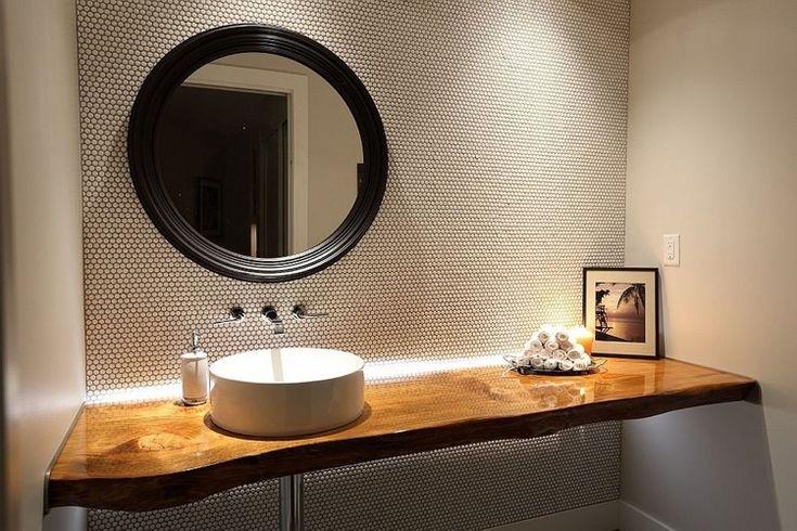 id e d coration salle de bain plan vasque bois brut dans la salle de toilette osez le style. Black Bedroom Furniture Sets. Home Design Ideas