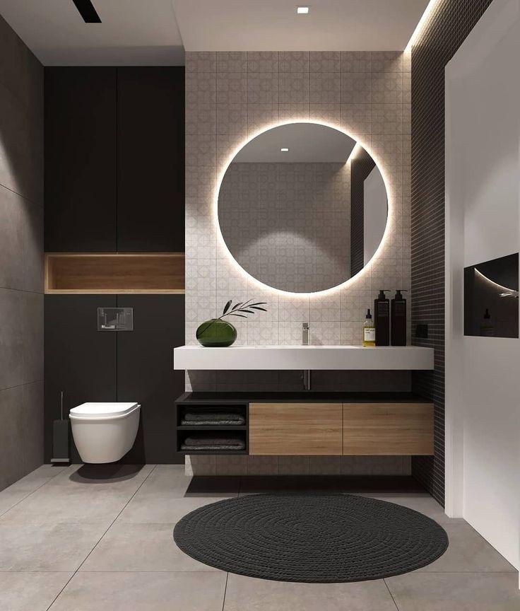 Idée décoration Salle de bain - Salle de bain moderne dans des tons ...