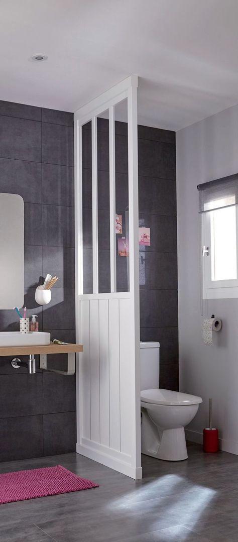 Idée décoration Salle de bain - Verrière façon cloison ...