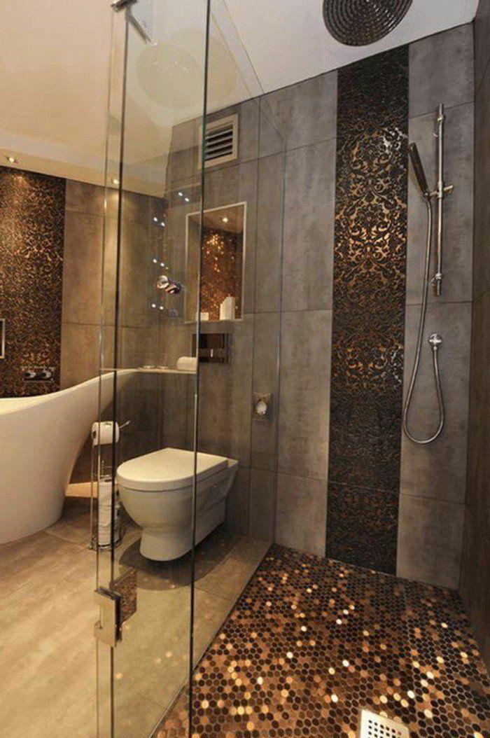 salle de bain en beige et gris, intérieur chic et moderne en dalles ...