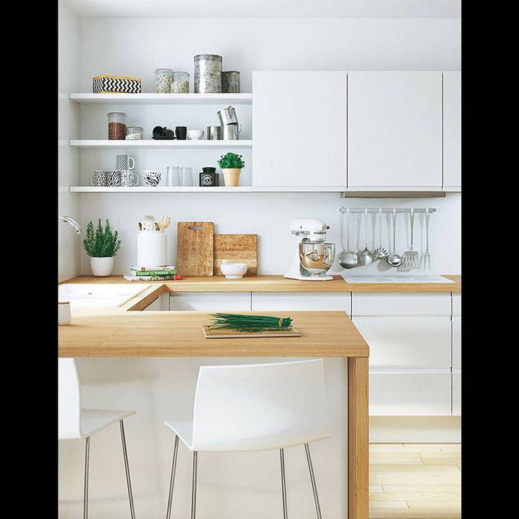 Plans maison en photos 2018 mixez tag res et placards - Cuisine blanche avec plan de travail bois ...