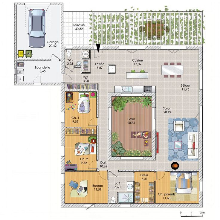 Plans Maison En Photos 2018 - Plan maison meublé - Une grande maison de plain-pied - ListSpirit ...