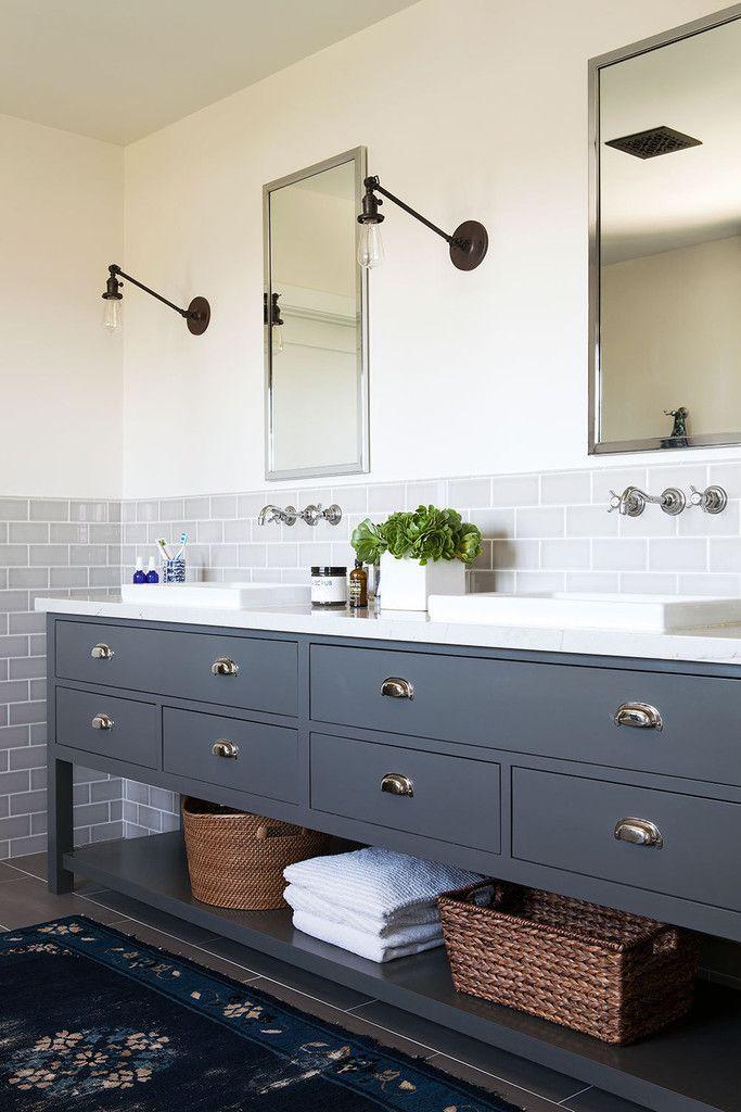 Idée décoration Salle de bain - Grand meuble de salle de bain double ...