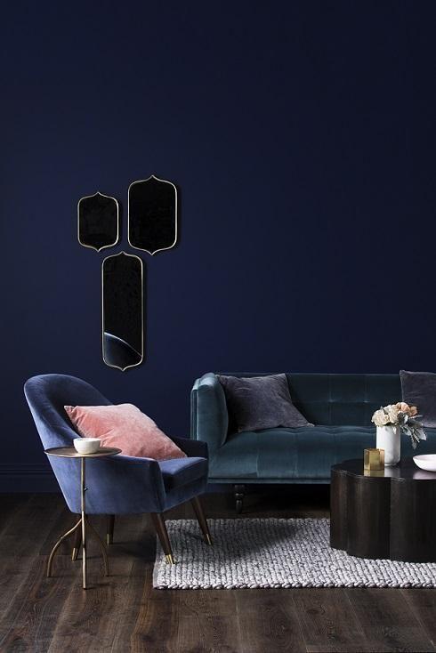 Déco Salon - Un salon bleu sur bleu, avec des canapé en ...