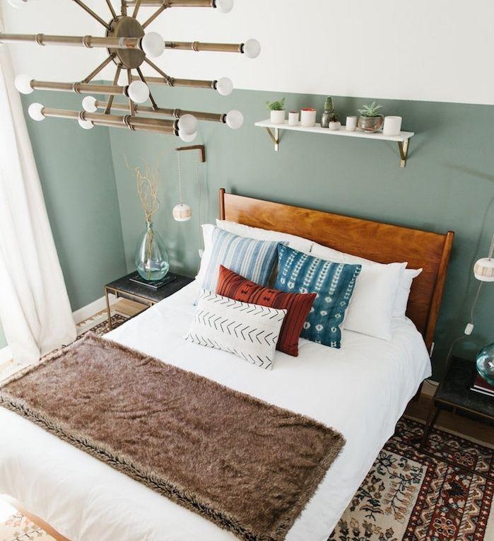 Déco Salon - chambre design aux murs couleur vert de gris, en guise ...