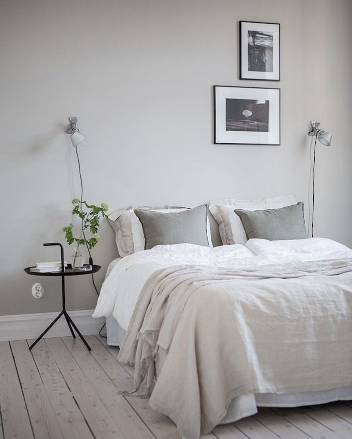 Chambre Gris Et Blanc: Deco Chambre Gris Clair Et Blanc, Parquet En