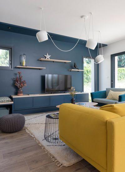 Déco Salon - mur-bleu-television - ListSpirit.com - Leading Inspiration, Culture, & Lifestyle ...