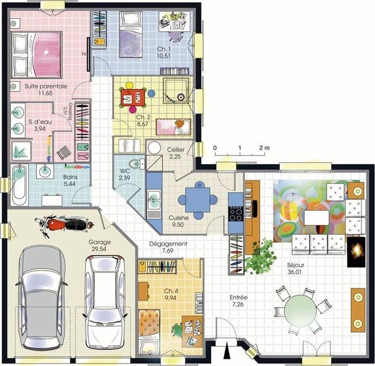 Plans maison en photos 2018 plan maison plain pied 4 - Plan maison plain pied 1 chambre ...