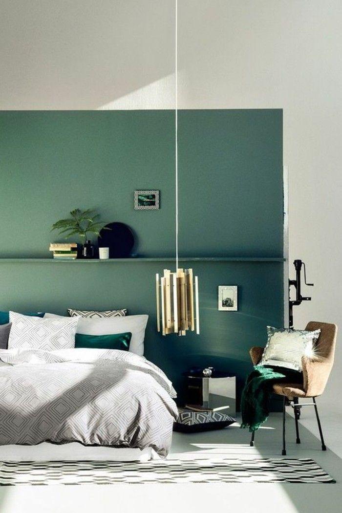 Déco Salon - couleur de chambre mur bleu-vert turquoise original ...