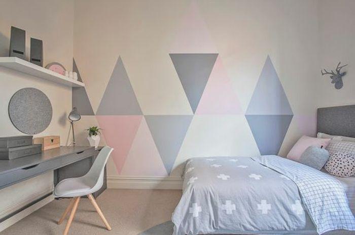 d co salon decoration chambre fille lit couleur grise linge de lit rose gris et blanc b. Black Bedroom Furniture Sets. Home Design Ideas