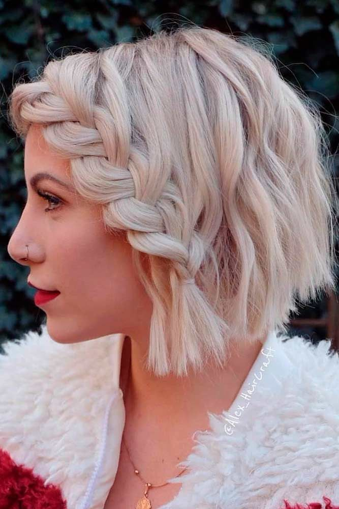 Nouvelle Tendance Coiffures Pour Femme 2017 / 2018 - Tressée blonde émoussée forte Bob coupe de ...