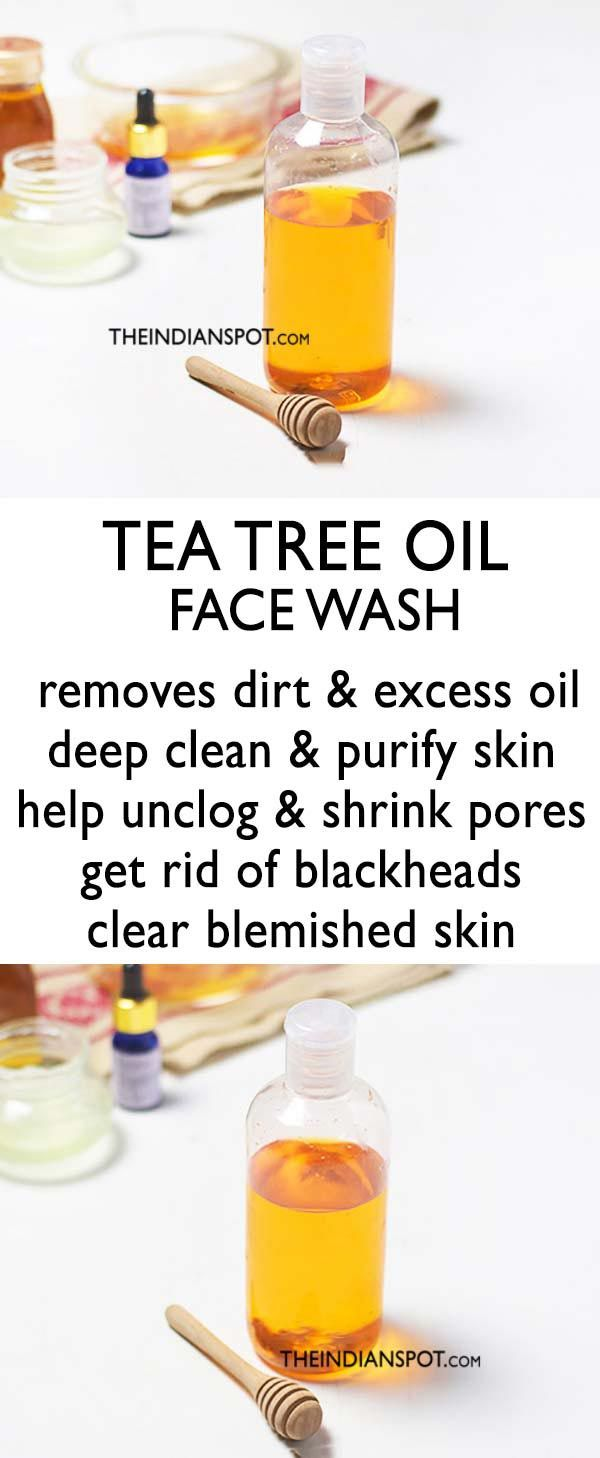 Idée pour Soin du Vsage et Acné - Nettoyant visage à l'huile d'arbre à thé fait maison pour ...